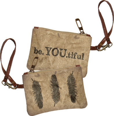 BE YOU TIFUL CANVAS COIN PURSE $15