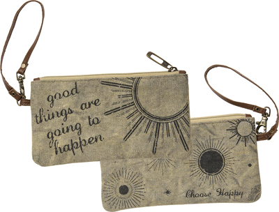 CHOOSE HAPPY' WRISTLET BAG $20