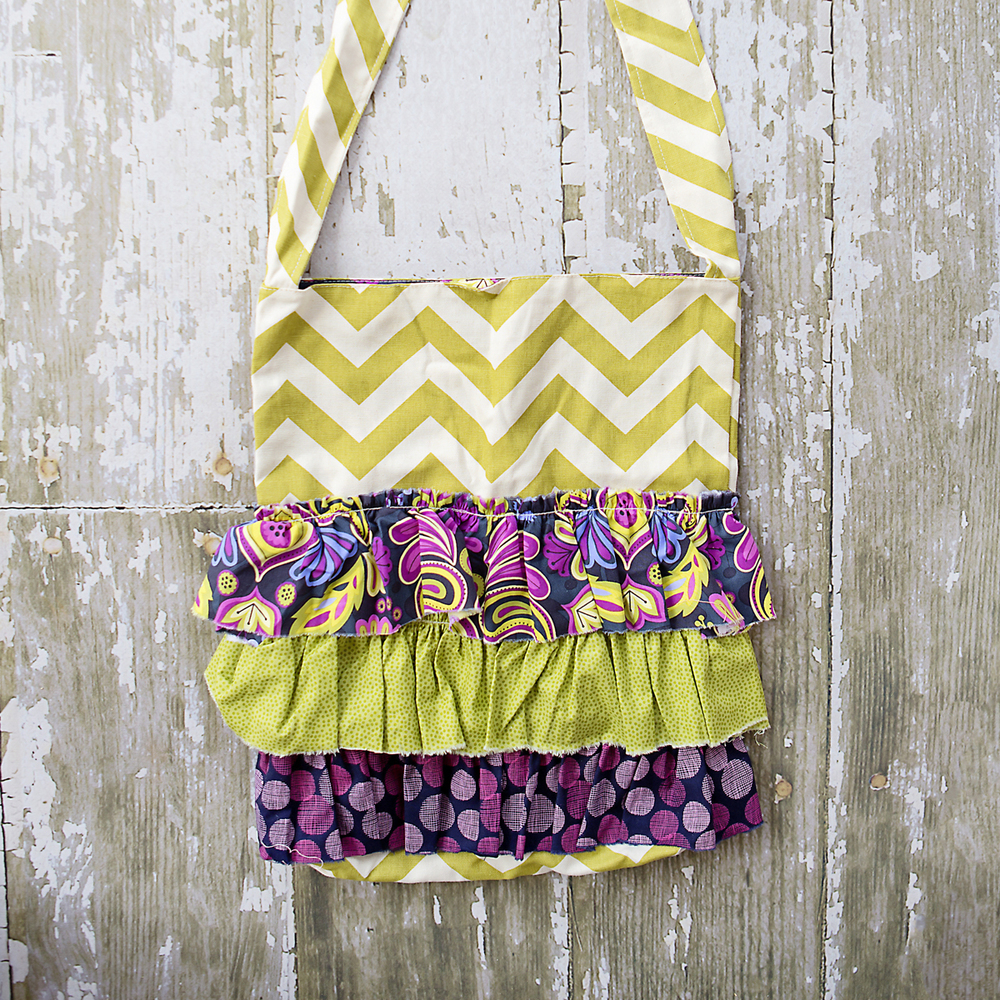 GREEN CHEVRON RUFFLE BAG $56