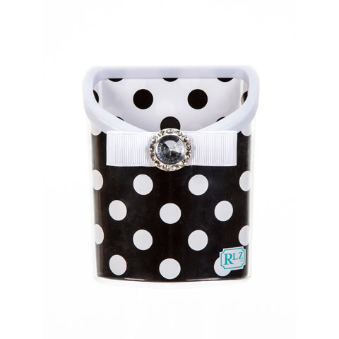 BLACK & WHITE DOT MAGNETIC PENCIL BIN $6