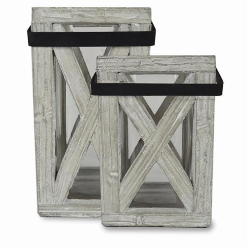SQUARE CONCRETE LANTERN WITH GLASS LINER $25