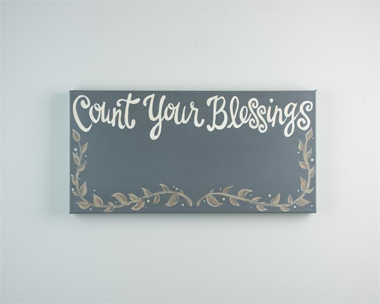 COUNT YOUR BLESSINGS' CANVAS PRINT FRAME WITH CLIPS $48