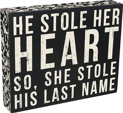 'LAST NAME' BOX SIGN $22
