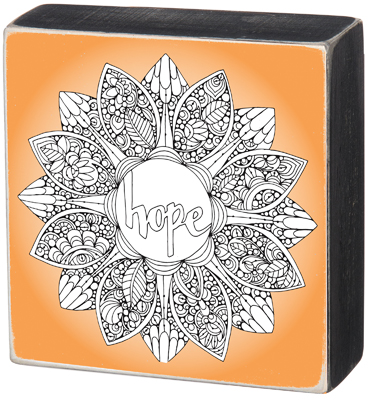 "'HOPE' COLORING BOX SIGN  $20  8"" SQUARE"