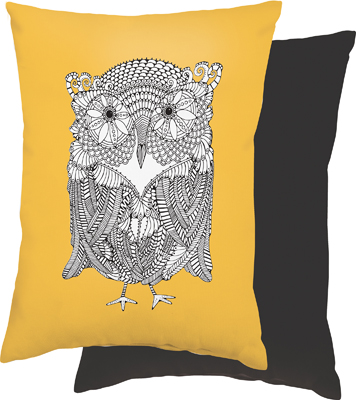 "OWL COLORING PILLOW  $20  9.25"" x 12"""