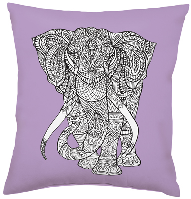 ELEPHANT COLORING PILLOW $25
