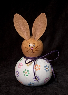 Sample of a painted bunny using the paint-your-own-bunny kit.