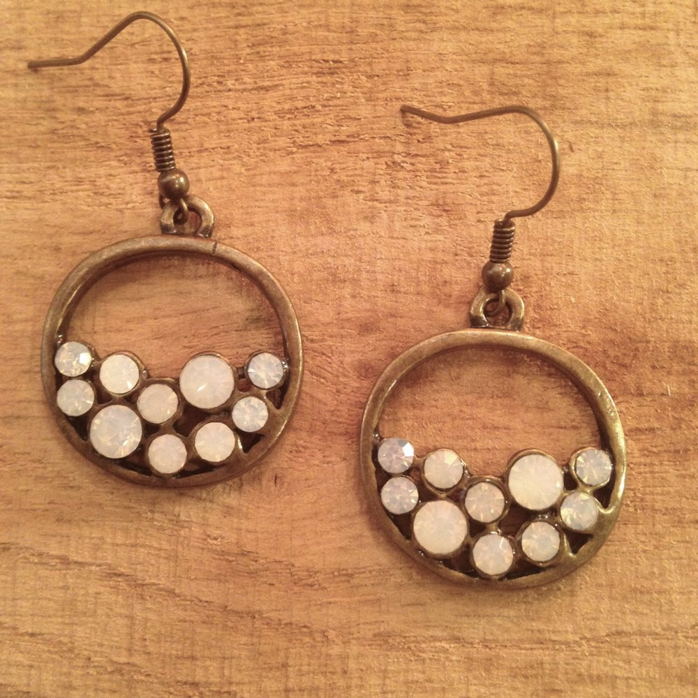 ANTIQUE BRONZE EARRINGS WITH MILKY WHITE CRYSTALS   $15 SALE $7.50