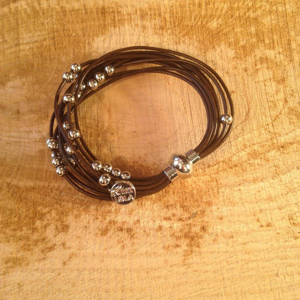 BROWN LEATHER AND SILVER BEAD BRACELET   $20 SALE $10