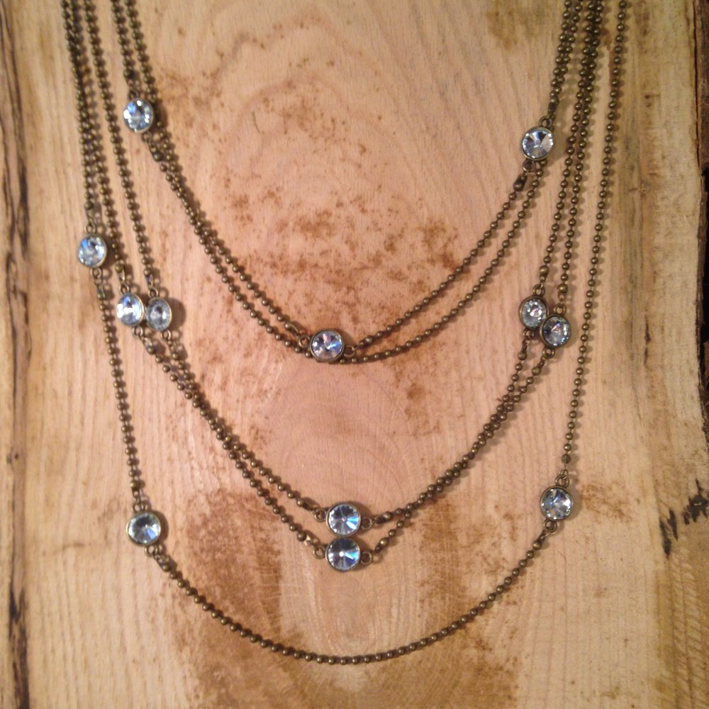 ANTIQUE BRONZE 5-STRAND CHAIN NECKLACE WITH CRYSTALS   $40 SALE $20