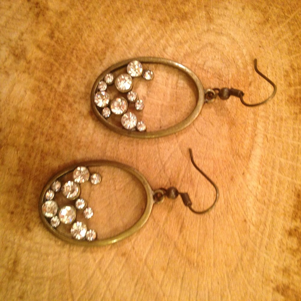 ANTIQUE BRONZE EARRINGS WITH MINI CRYSTALS   $15 SALE $7.50