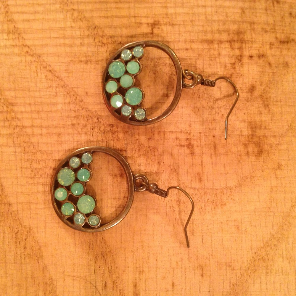 ANTIQUE BRONZE EARRINGS WITH MILKY BLUE CRYSTALS   $15 SALE $7.50