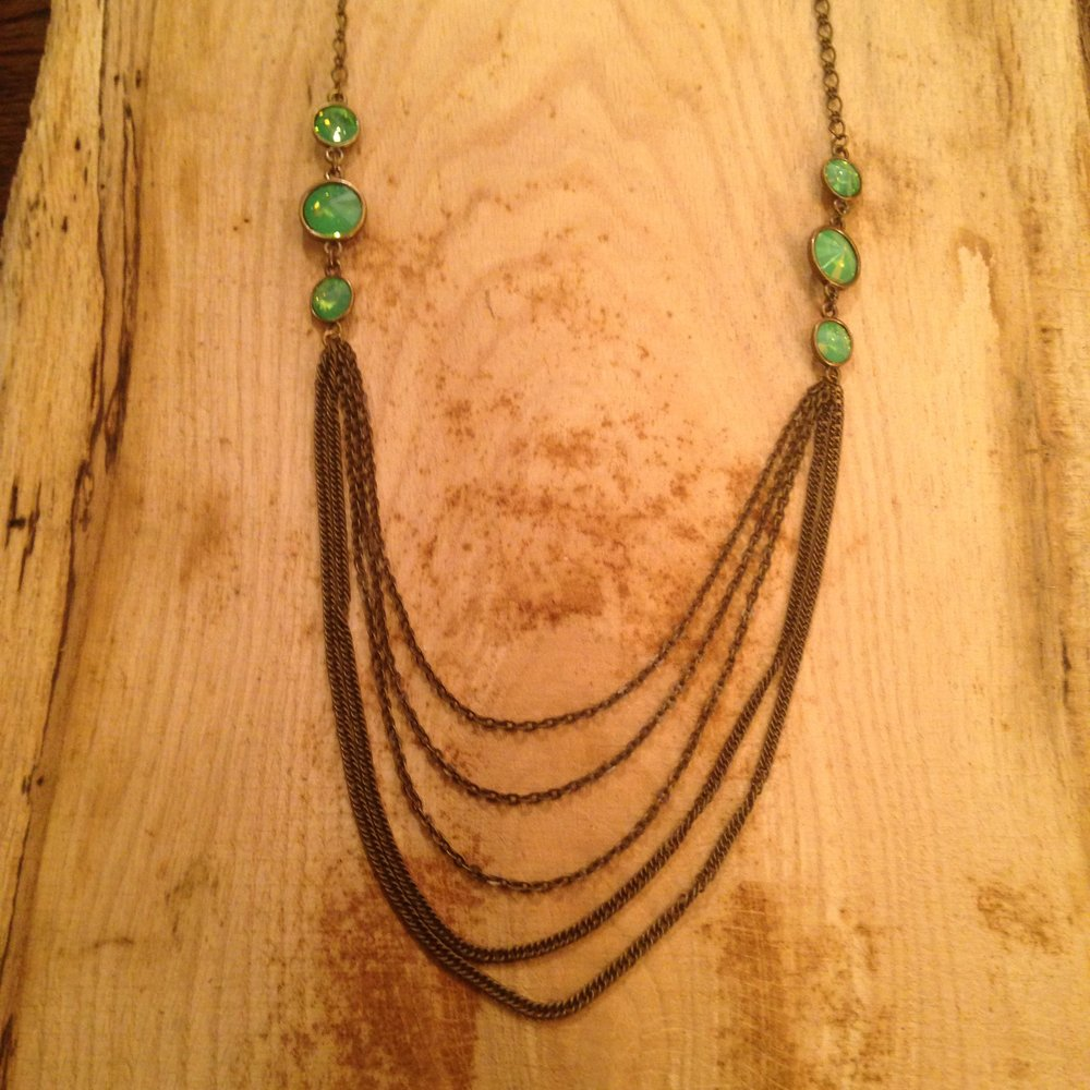 ANTIQUE BRONZE CHAIN NECKLACE WITH MILKY BLUE ACCENTS   $36 SALE $18