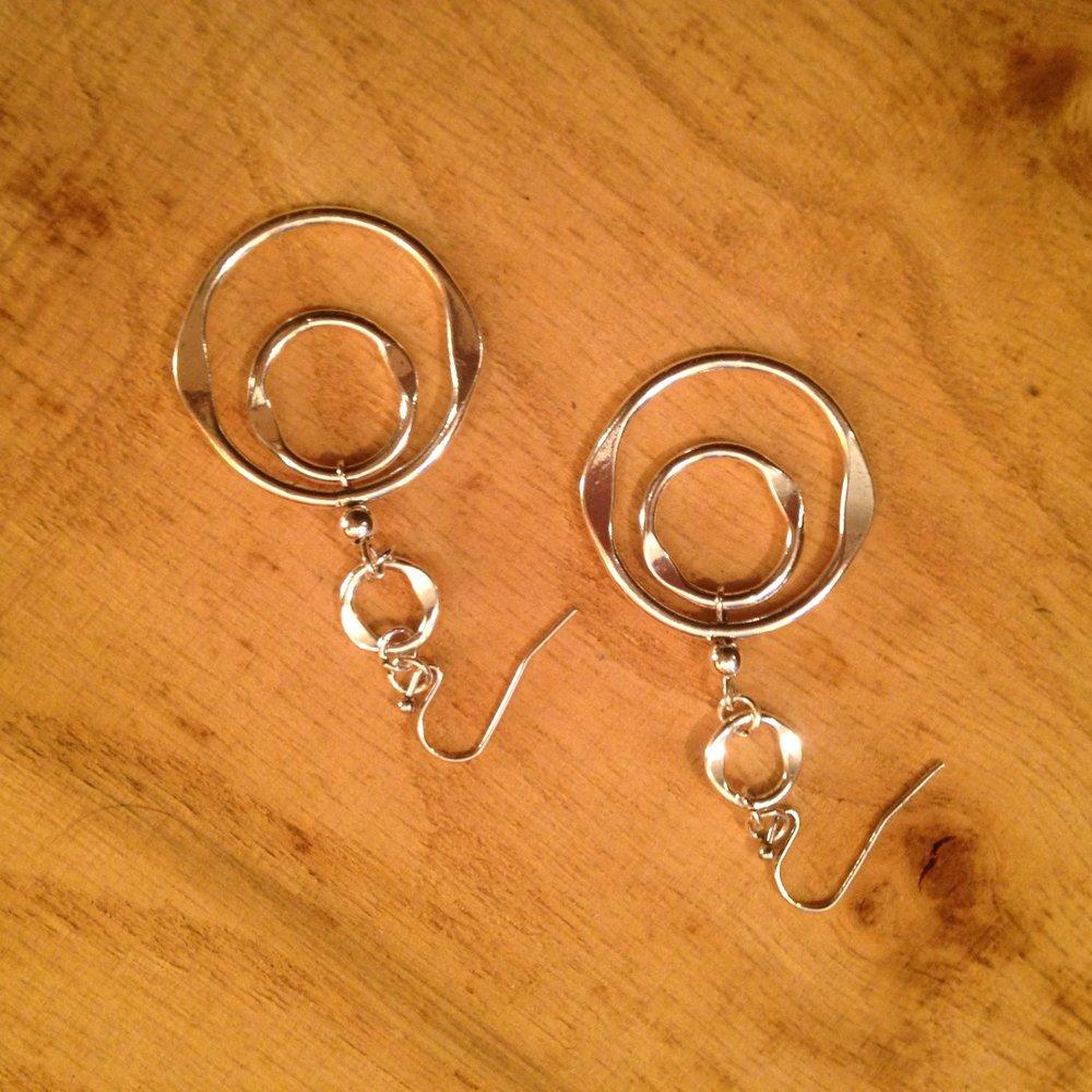 SILVER'ISH' ORGANIC RING EARRINGS   $15 - SALE $7.50