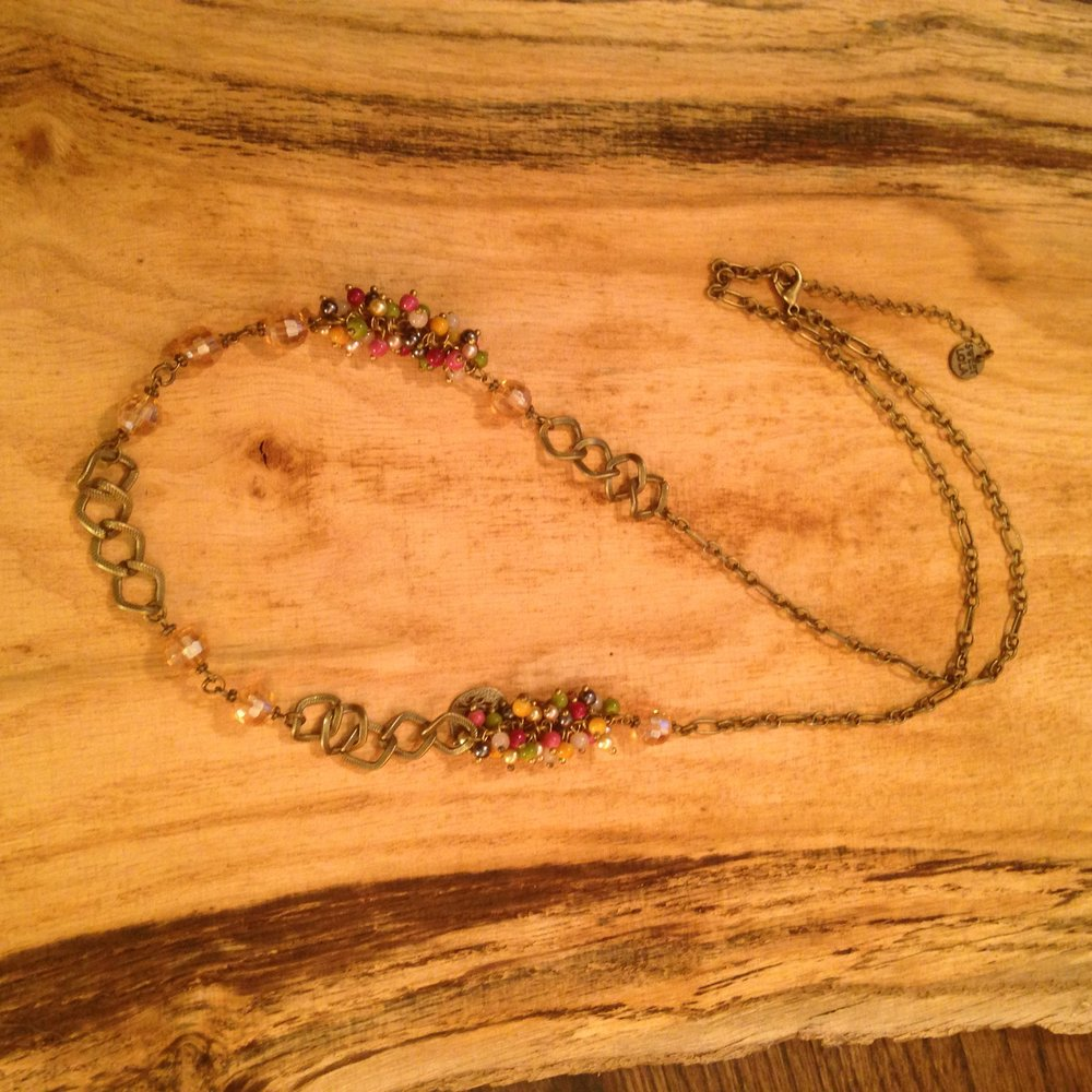 ANTIQUE BRONZE CHAIN NECKLACE WITH TINY BEADS   $30 -SALE $15