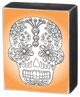 "'SKULL"" COLORING BOX SIGN  $8"