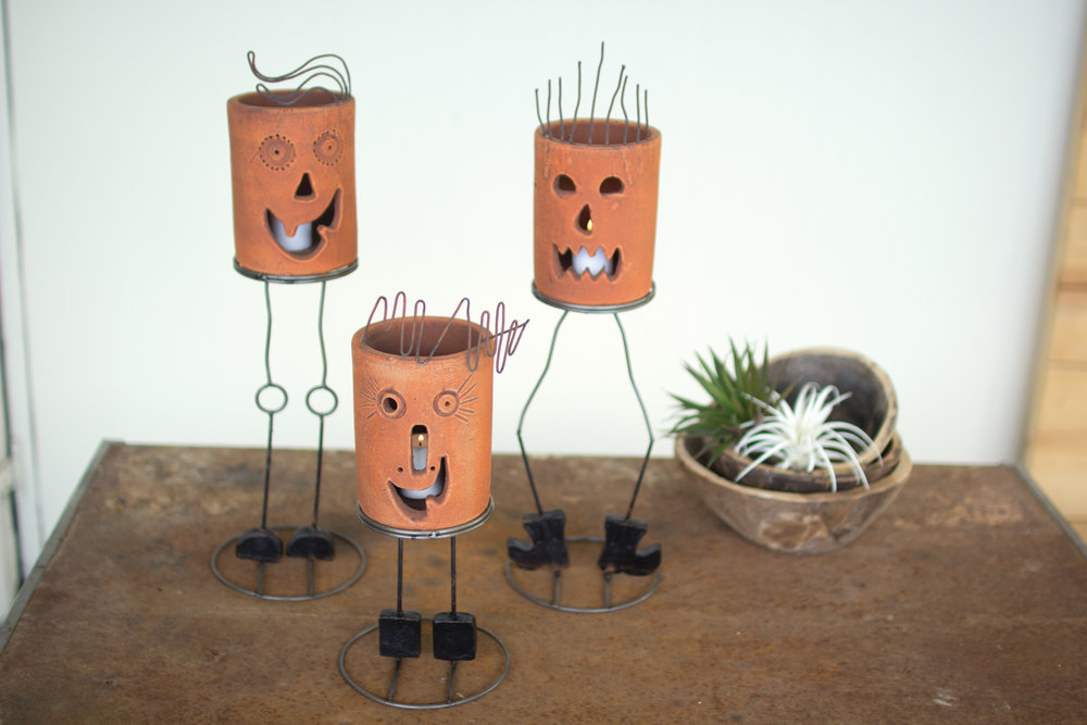 CLAY JACK-o-LANTERNS $40 each.  Jack, Fang, and Frank