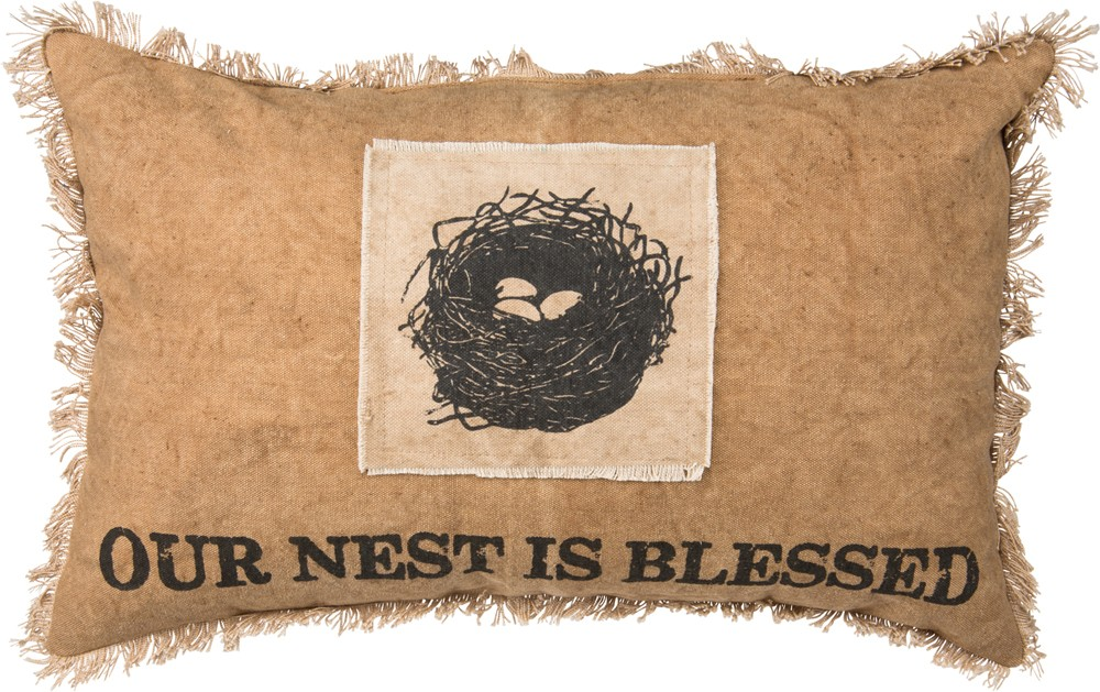 Our Nest is Blessed Pillow $34