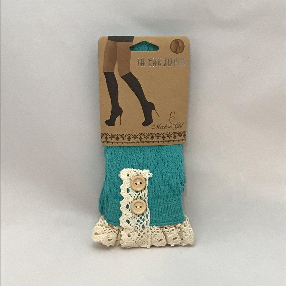 Knit Blue Boot Socks $20