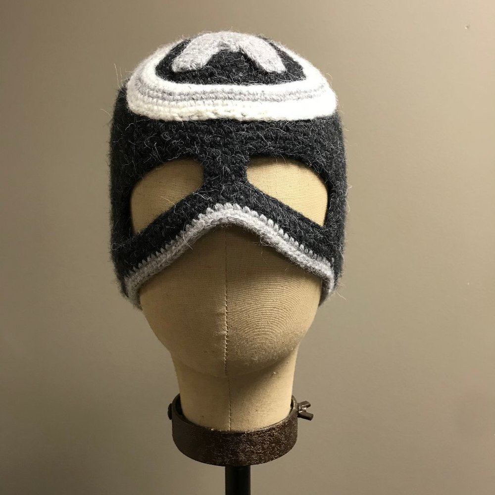 "Hand Crochet ""Grey Captain America"" Hat and Mask $36"