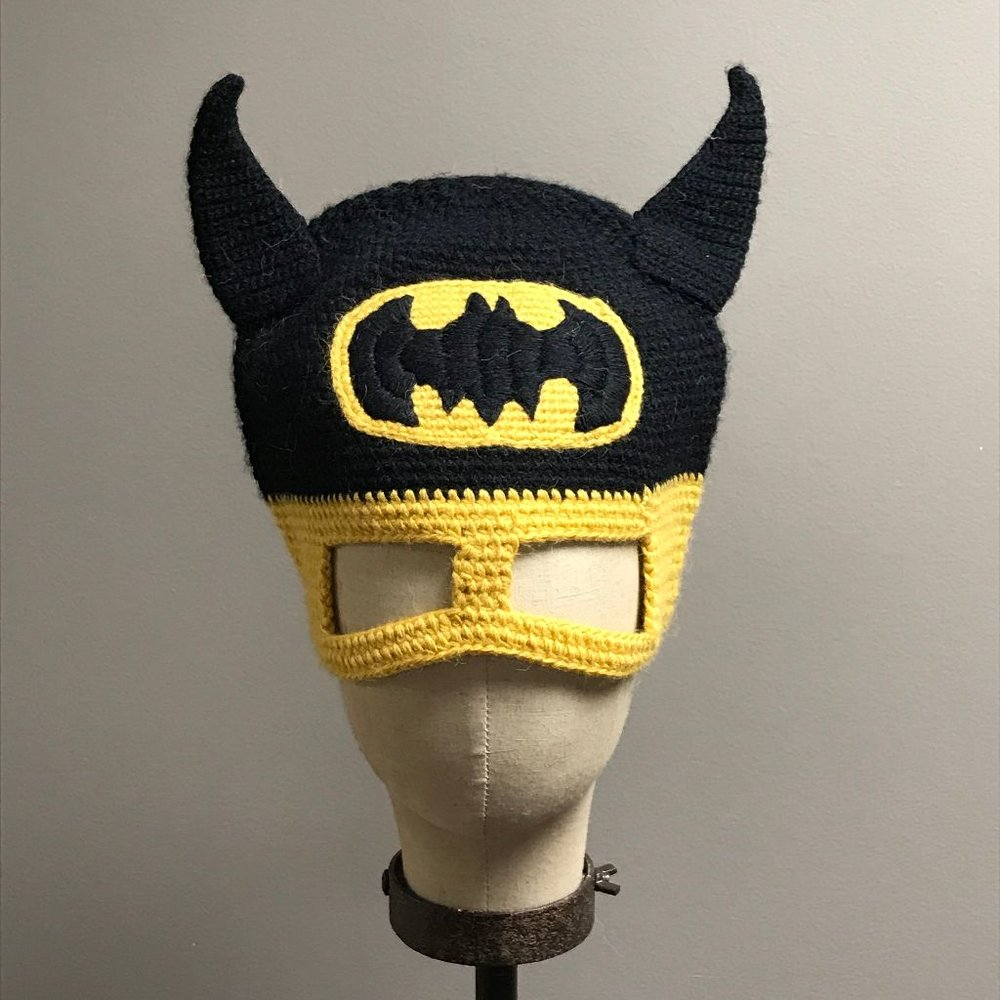 "Hand Crochet ""Batman"" Hat and Mask $36"