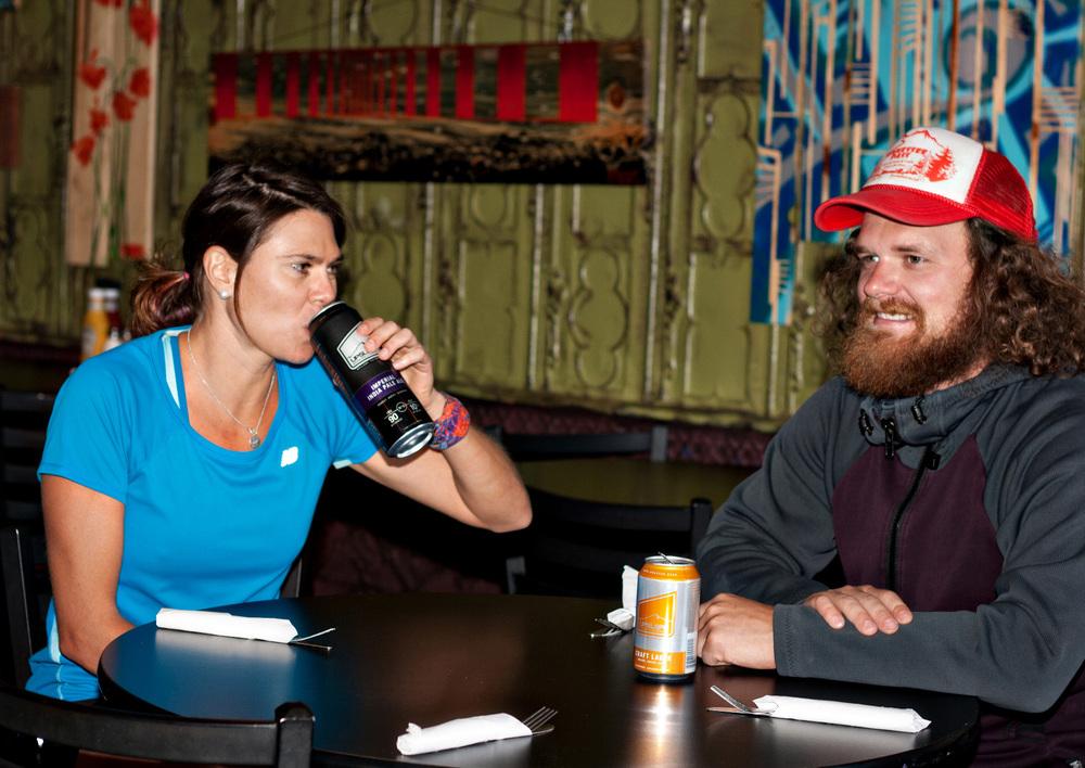 Gina Lucrezi enjoys a beer at Upslope