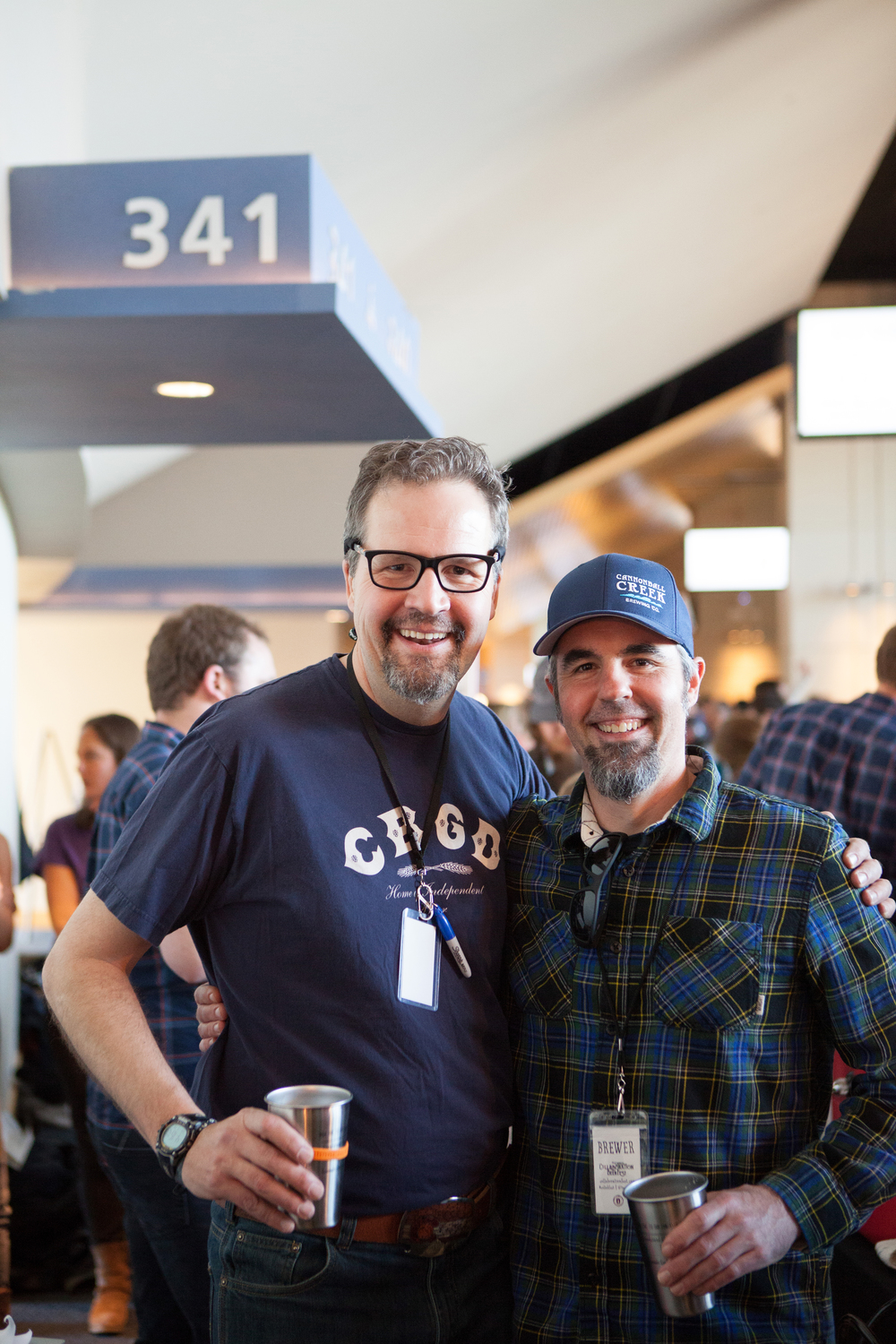 John Carlson, executive director of the Colorado Brewers Guild, and Brian Hutchinson, co-owner of Cannonball Creek Brewing Company in Golden, are just some of the 2,200 guests that attended the festival at Sports Authority Field at Mile High Stadium.