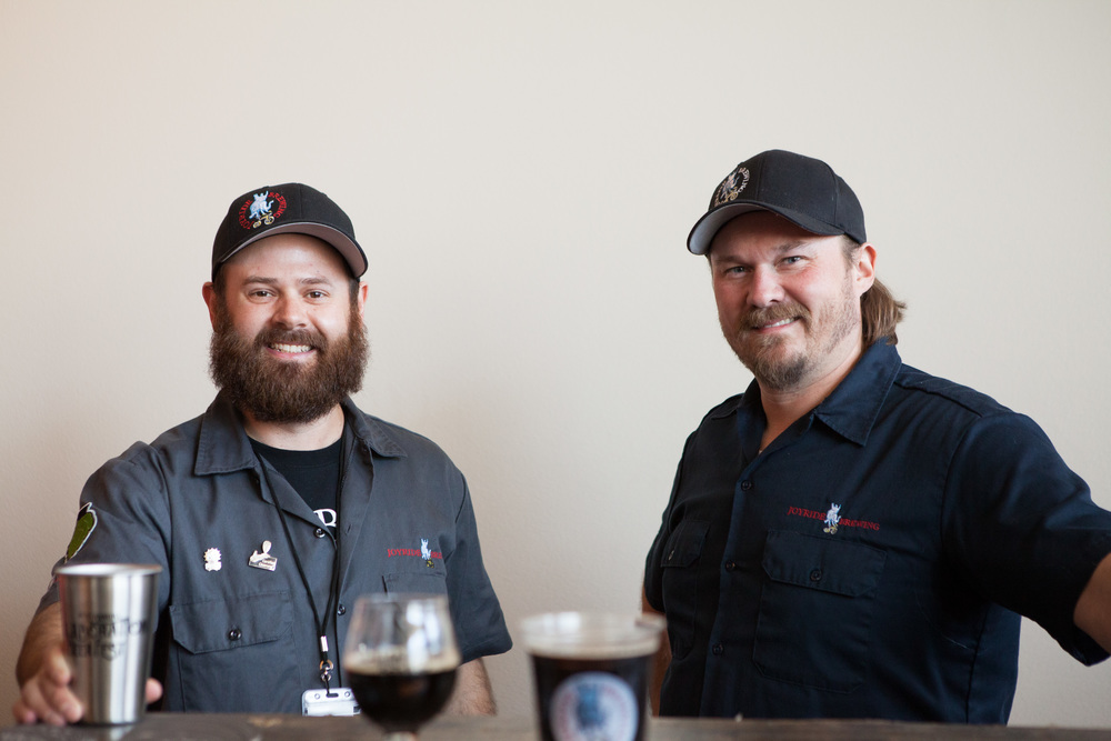 Grant Babb, owner of Joyride Brewing Company in Edgewater, takes a break from the fest for a quick photo with Joyride Brewmaster and co-founder Dave Bergen.  Joyride collaborated with Heretic Brewing Co. out of Fairfield, CA to create the Star Fire Schwarzbier Black Lager.