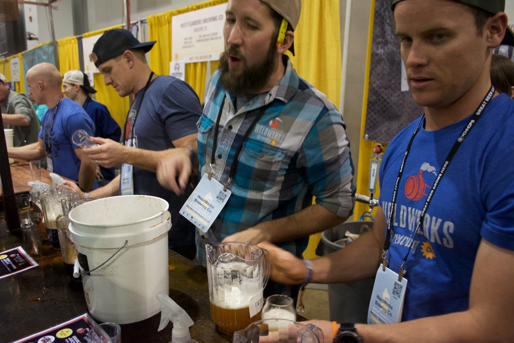 The WeldWerks crew pouring their increasingly popular JuicyBits IPA
