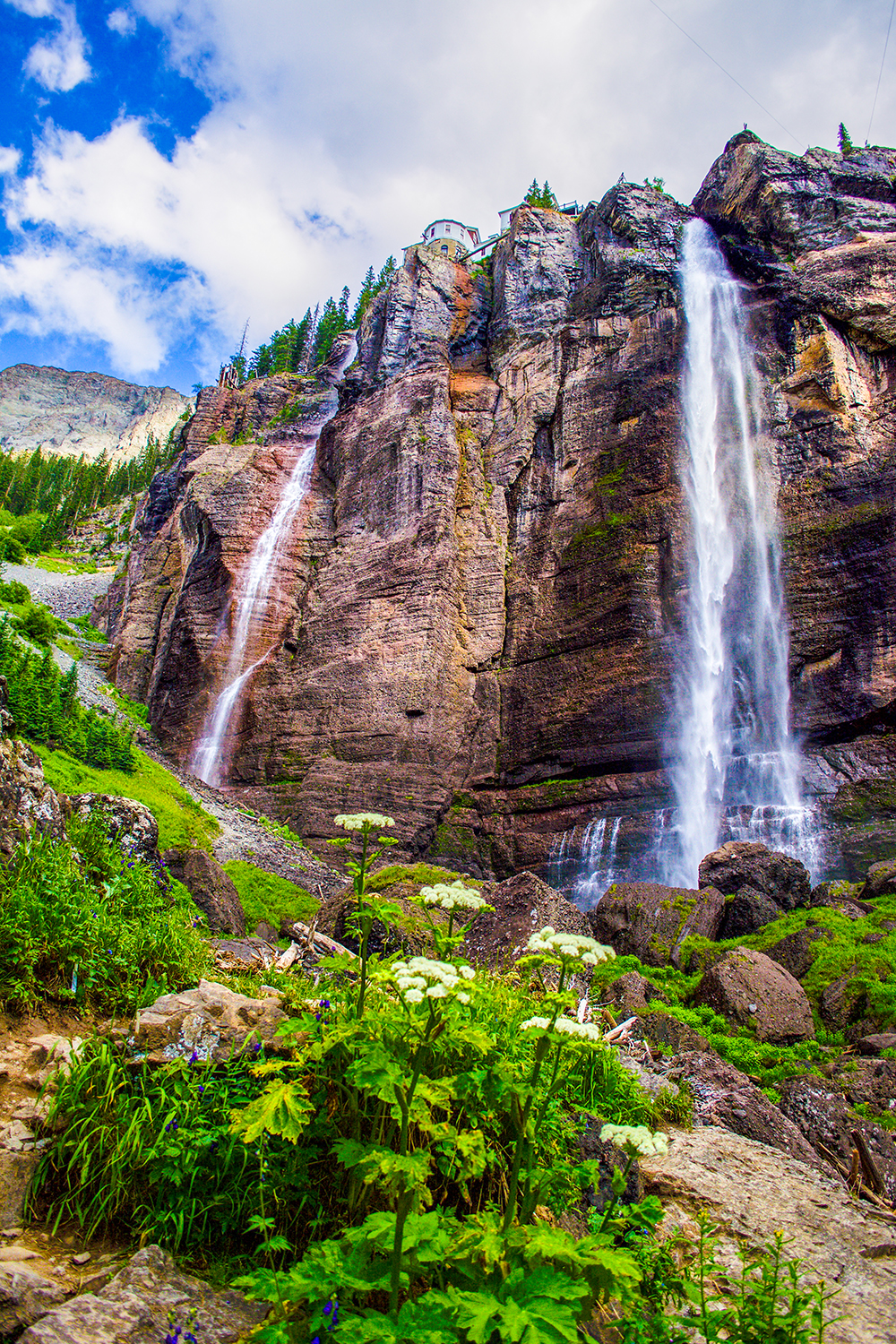 Bridal Veil Falls tumbles 365 feet into an ice cold pool before rushing toward Telluride.  Photo: Neill Pieper