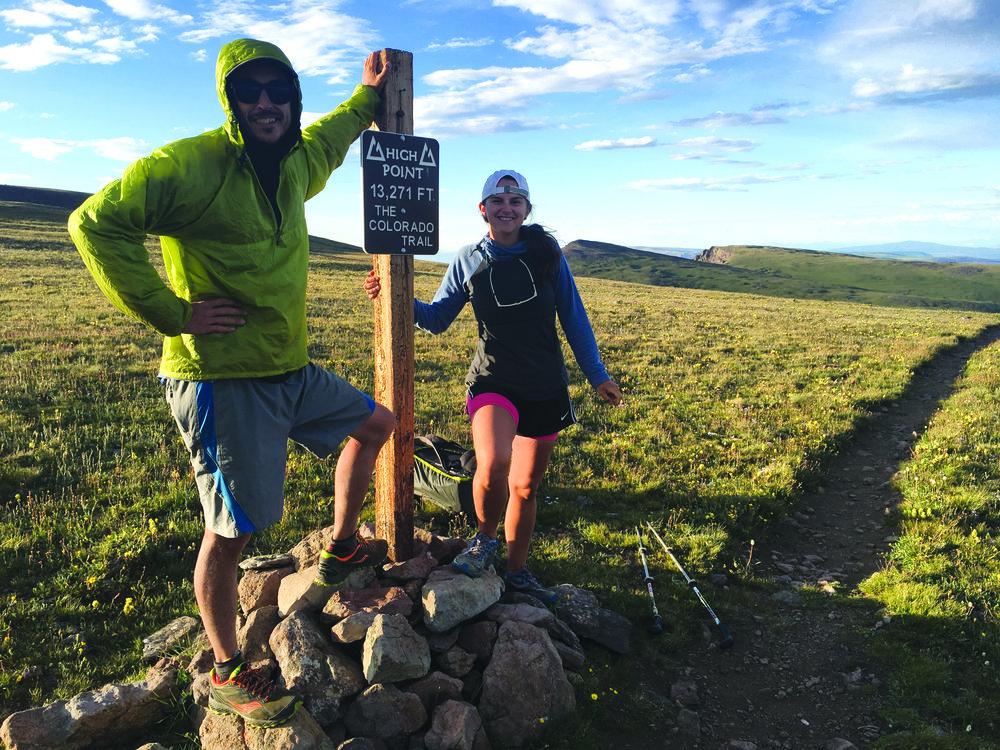 John McKinney and Samantha Mills take a break at the high point of the trail.Photo: John McKinney