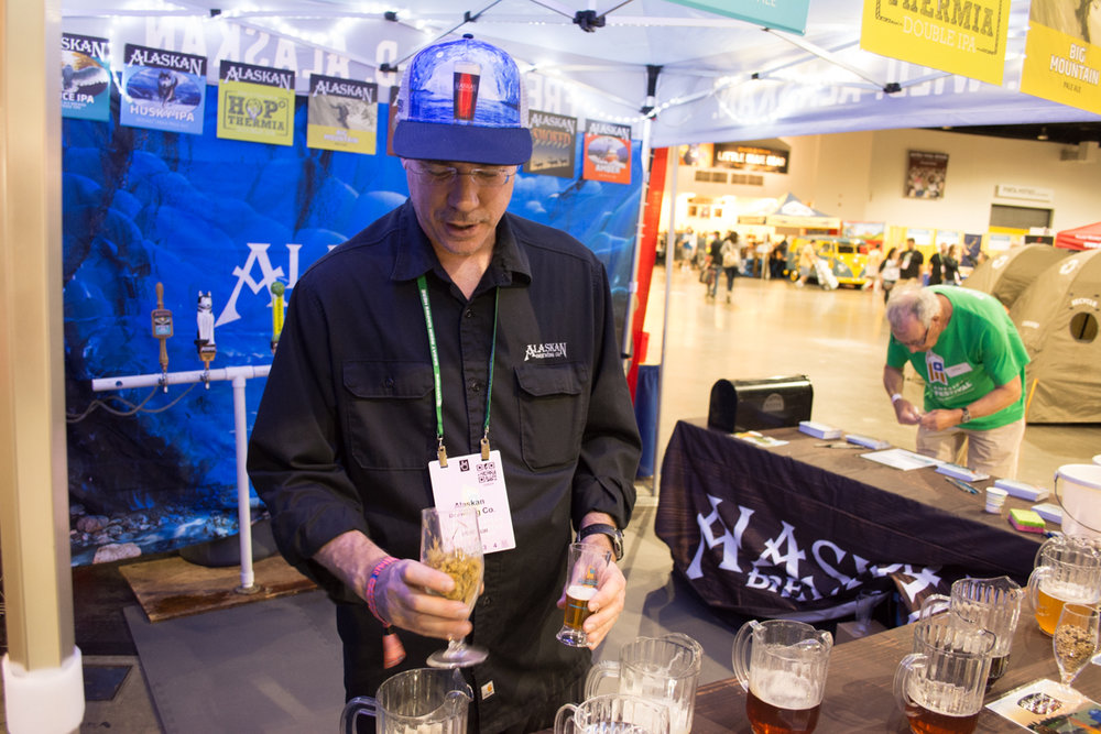 Andy Klein from Alaskan Brewing shows off some of the fresh spruce tips that are used in a Spruce IPA brew from Alaskan Brewing.