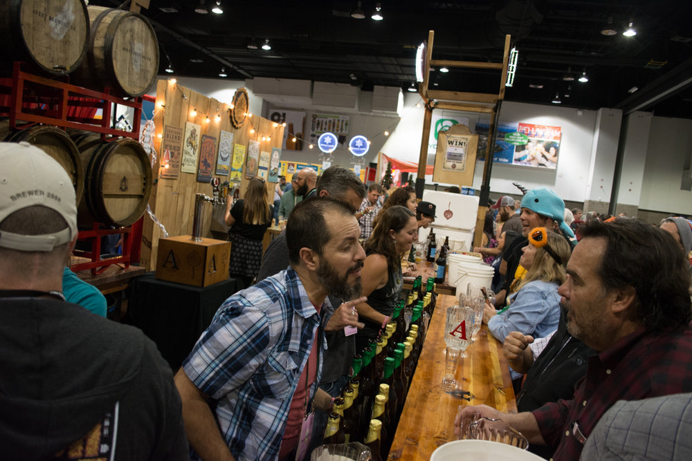 Avery Brewing production manager Bernardo Alatorre tells an attendee a little more about their barrel aged offerings.