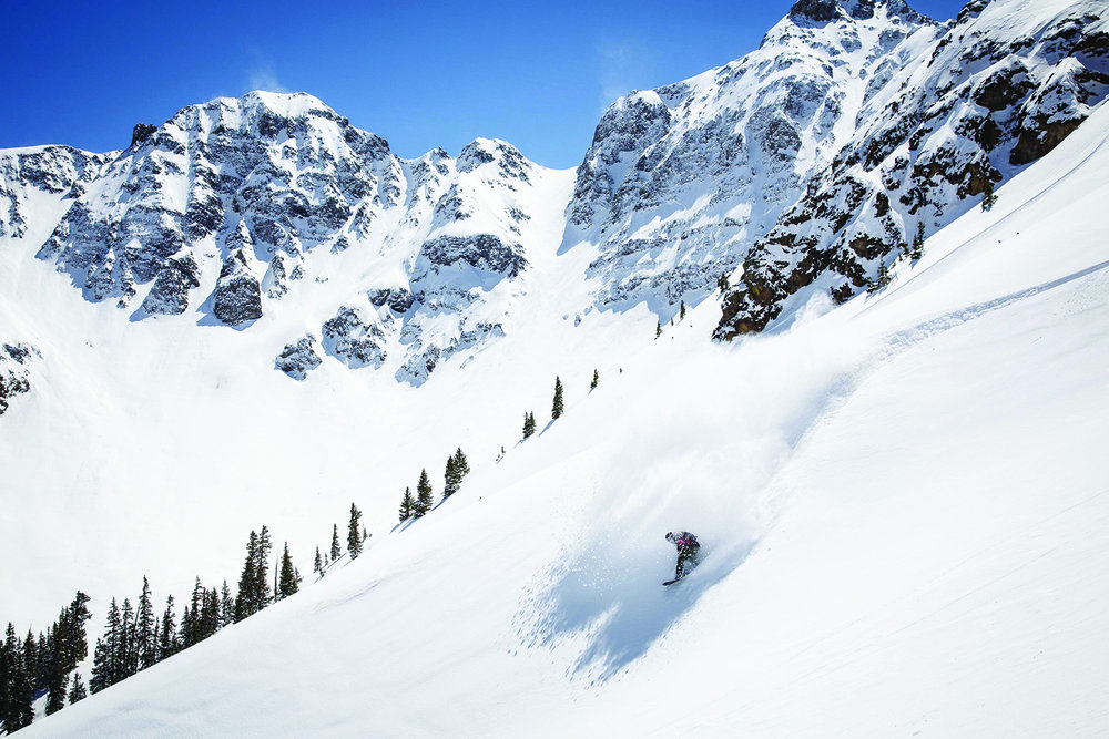 A Silverton Mountain skier gets an incredible face full of powder.