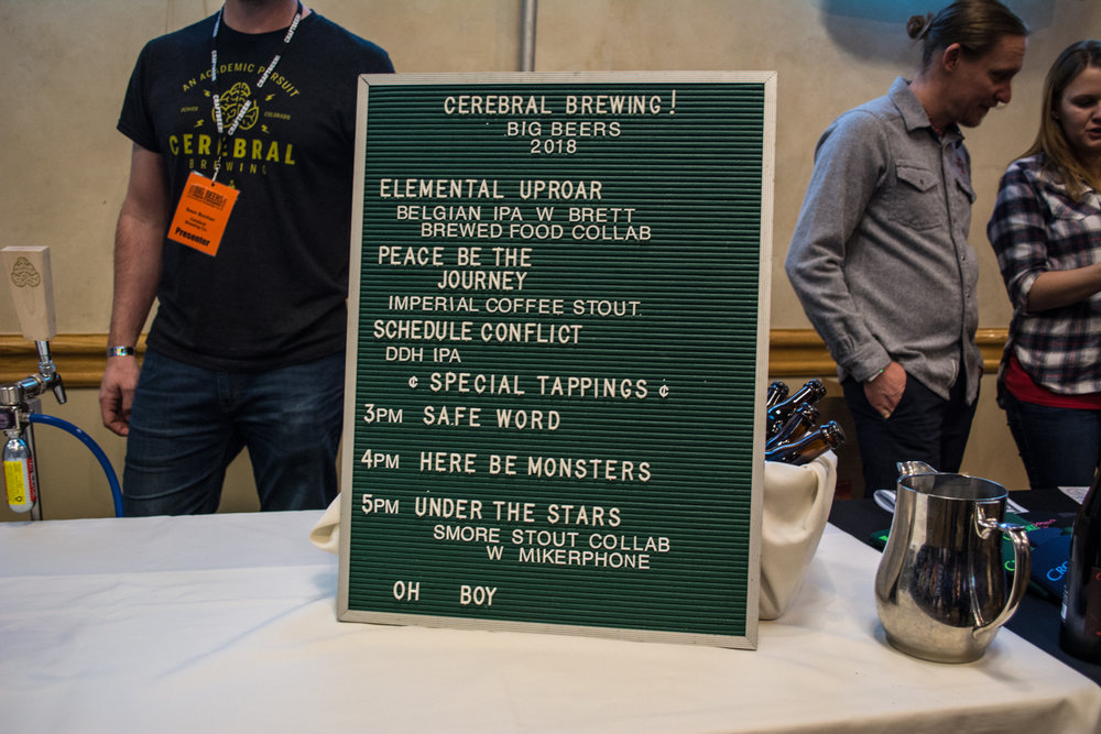 Throughout the festival, several breweries released special beers. Cerebral Brewing from Denver had a lineup headlined by their New England Style IPA's.
