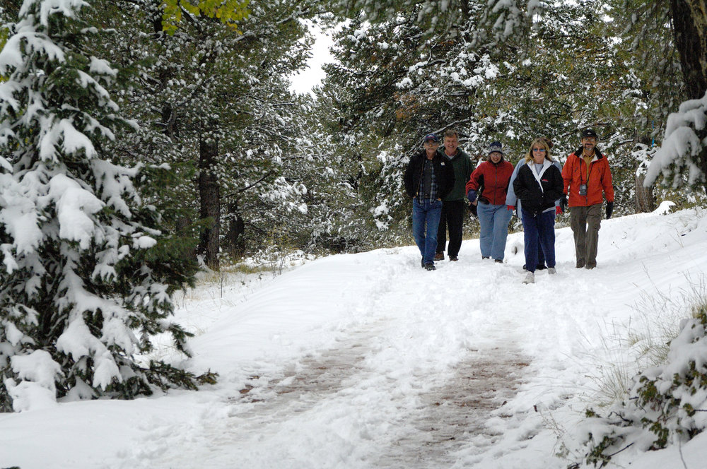 Hikers/snowshoers at Mueller State Park. Photo: Courtesy Colorado Parks and Wildlife.