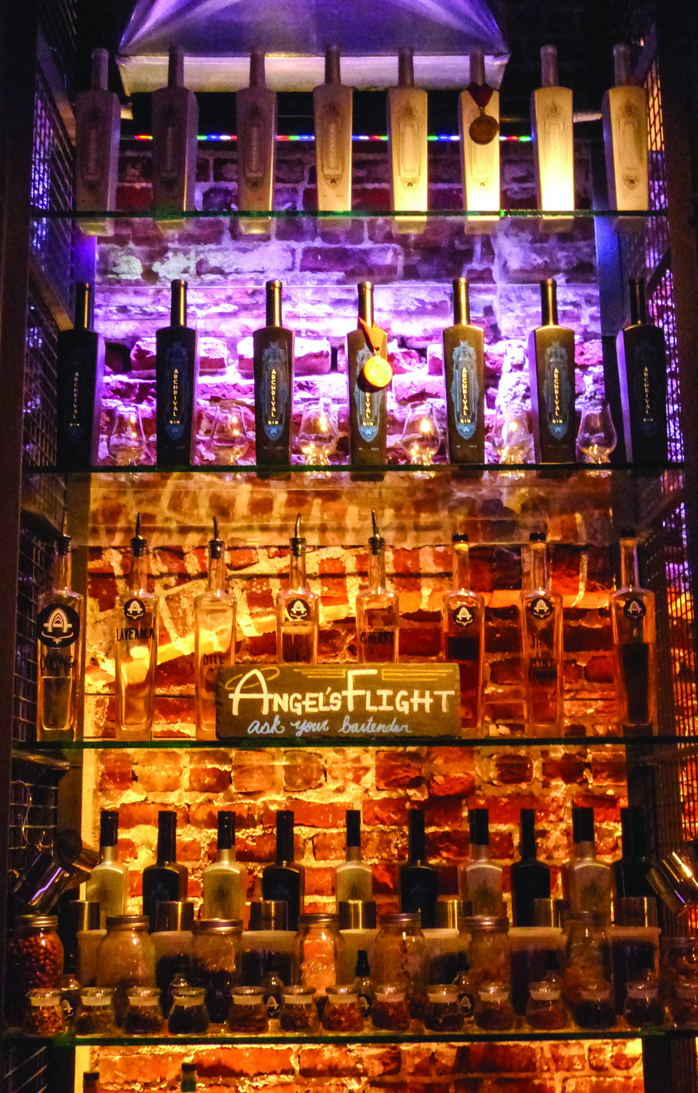 Archetype visitors can sample a variety of spirits from the Angel's Flight.