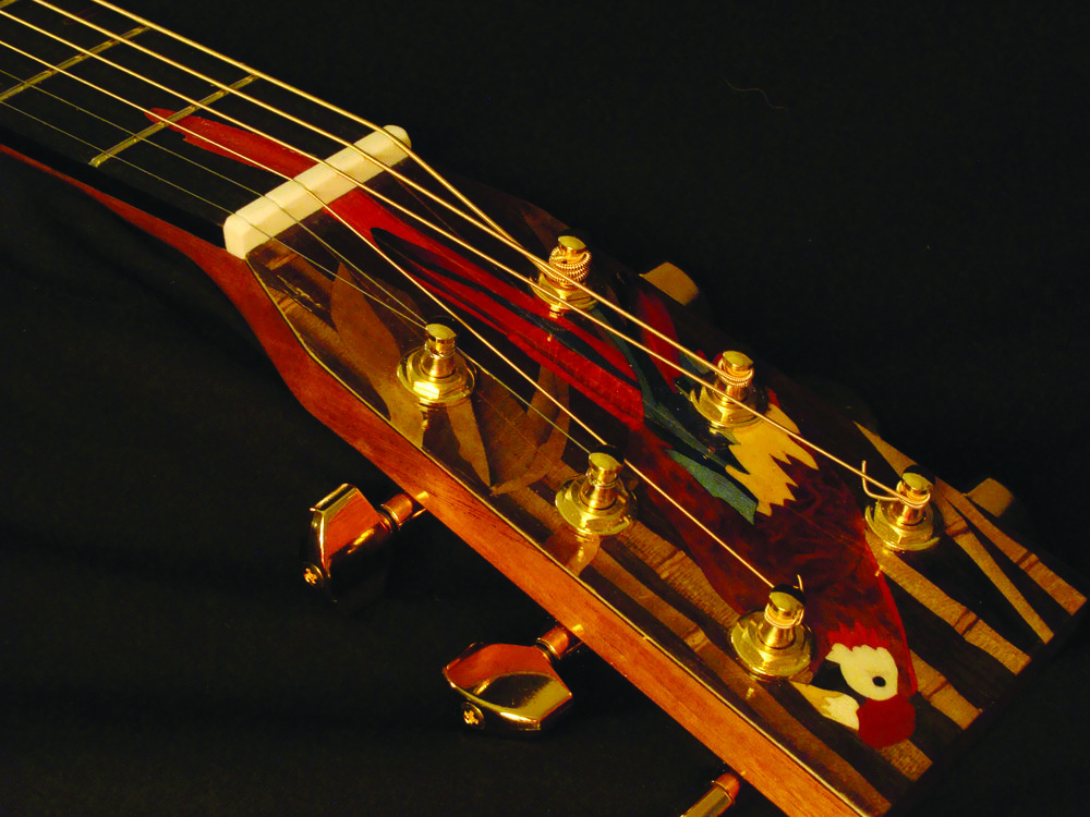 "Ornate ""closed"" style headstock, with parrot inlay, and tuning pegs. Photo courtesy of Robbie O'Brien."