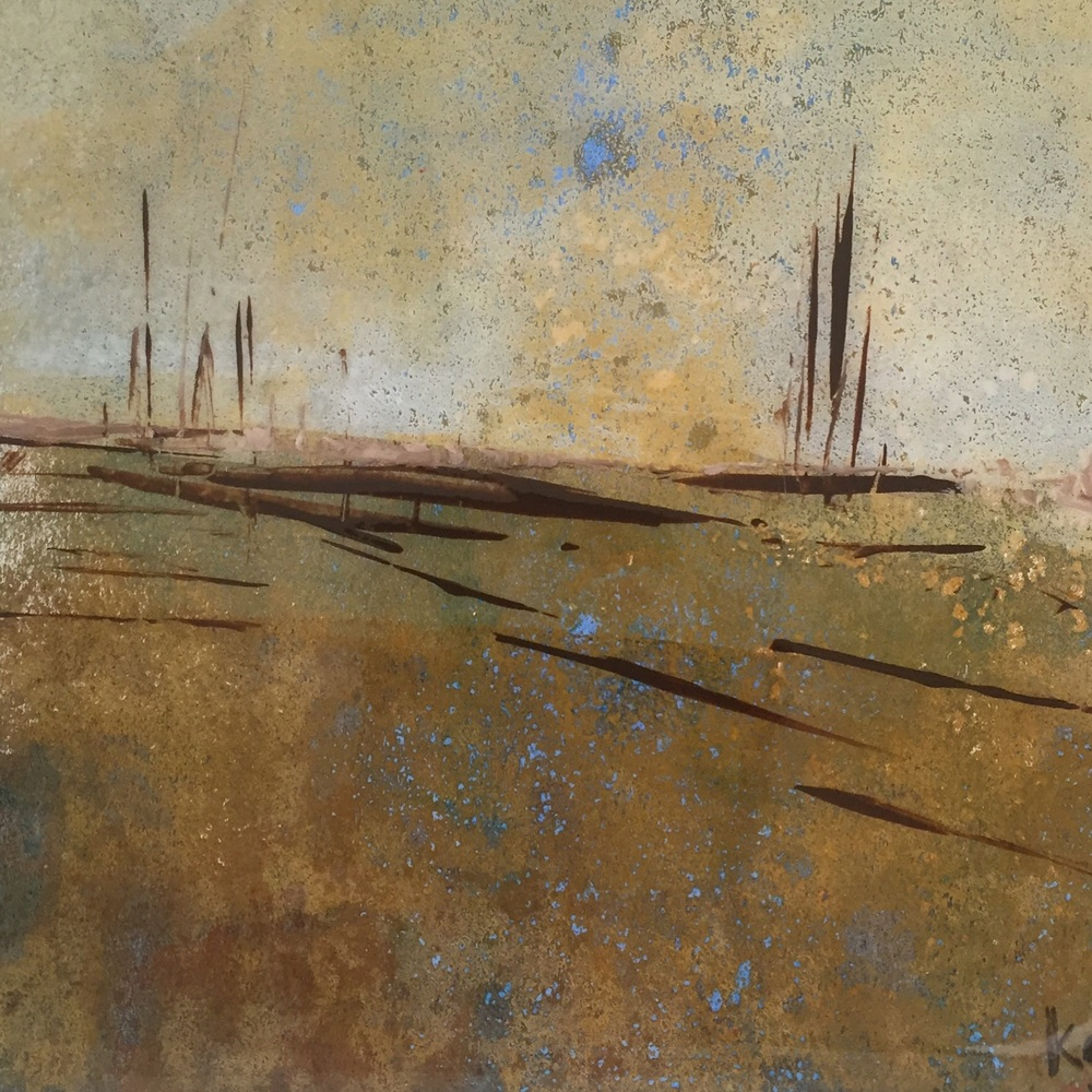 Taupe Landscape ll - 6x6 on canvas | for sale