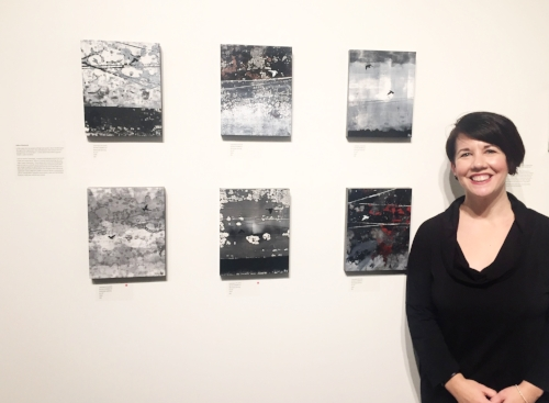Me at the Ensemble Opening with my 6 pieces. (2 of them SOLD at the opening!)