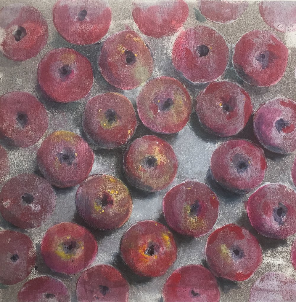 """""""How about them apples?"""" monotype painting, 50cmx50cm framed"""