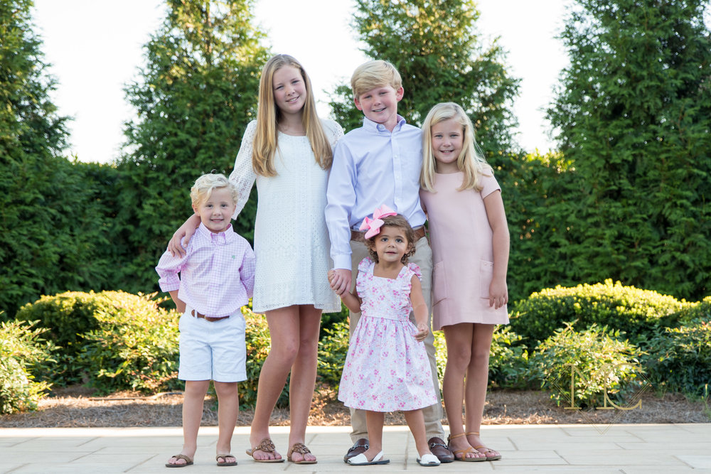 image from a fall session of five cousin children