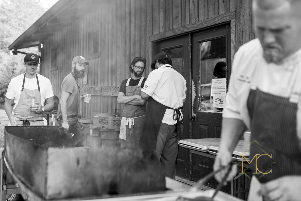 image from MS Fall Crush of nashville chefs preparing their culinary specialities for guests - Lockeland Table, The Farm House, Adele's, Green Door Gourmet, Oak Steakhouse