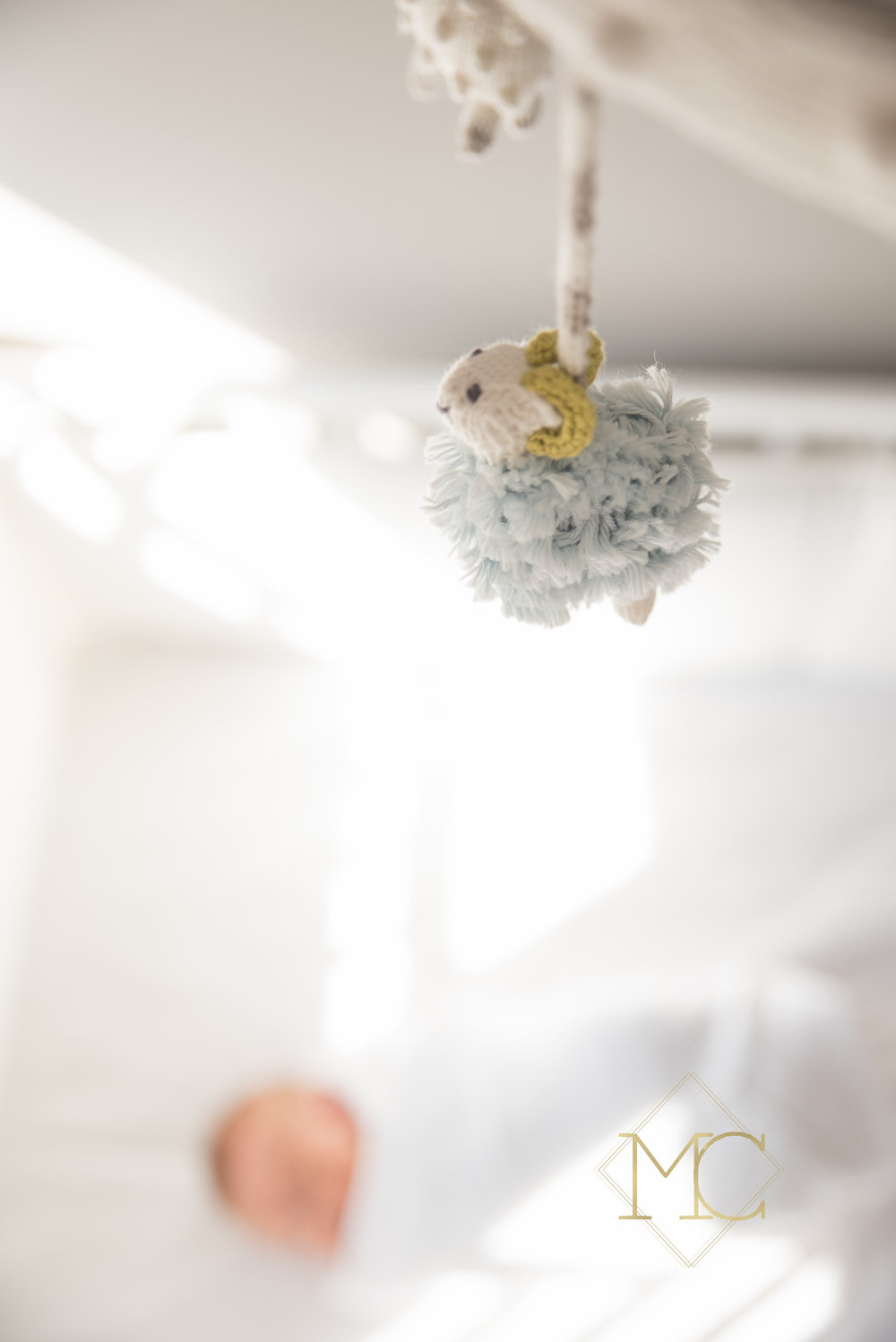 image from nashville newborn lifestyle photo session of baby girl in her crib with her blah blah mobile above her