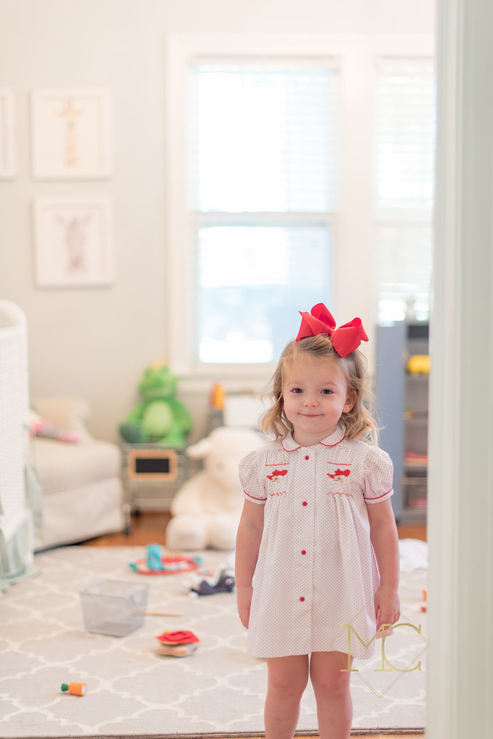 image from nashville family lifestyle photo session of toddler in red dress