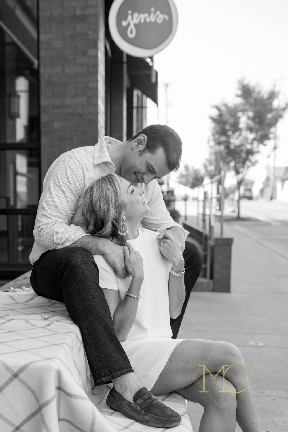 image from nashville engagement photo session of a couple in love at jeni's cream in 12 south