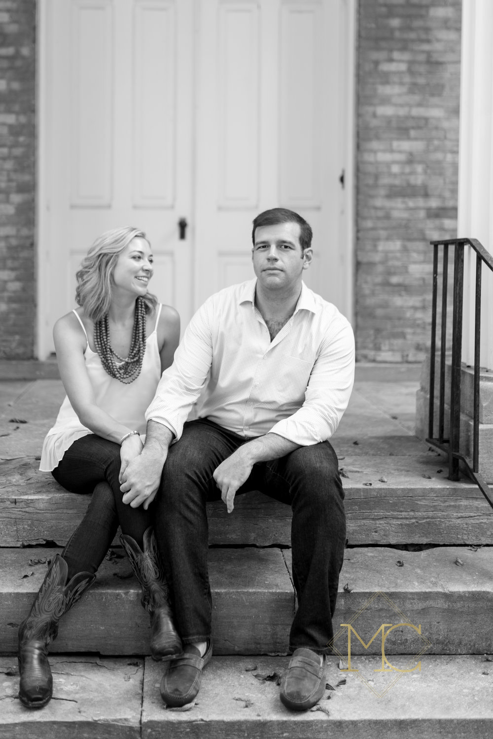 image from nashville engagement photo shoot of couple at glen leven farm