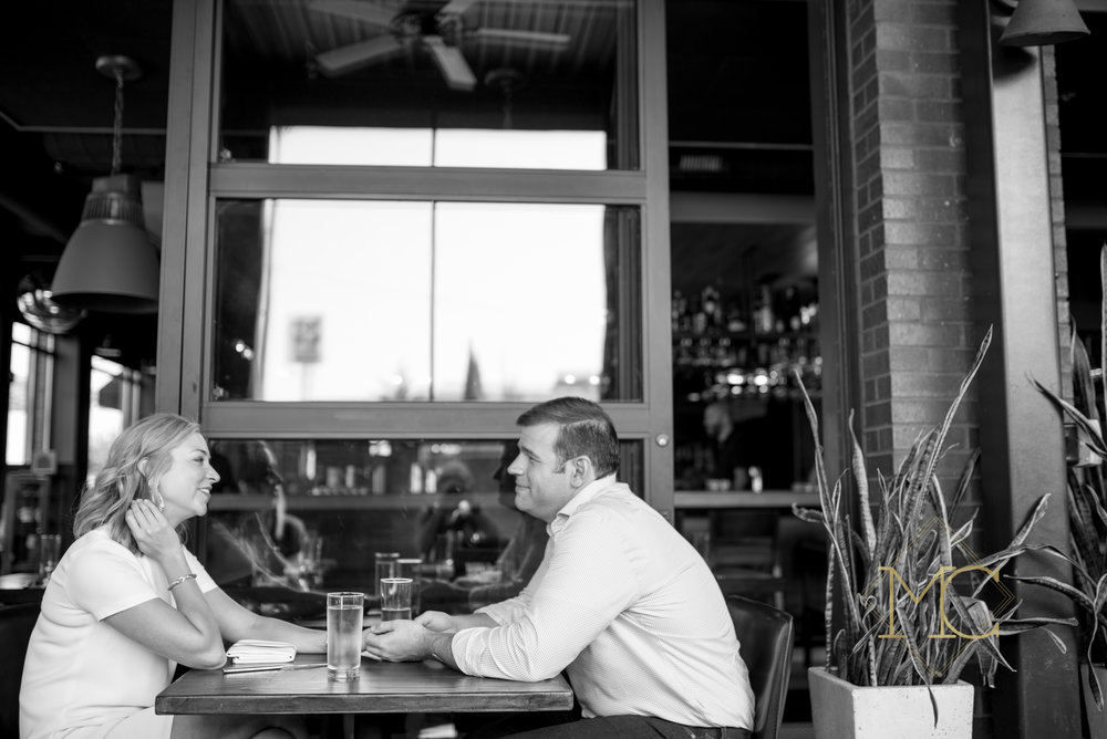image from nashville engagement photo shoot of couple eating at josephine's restaurant in 12 south