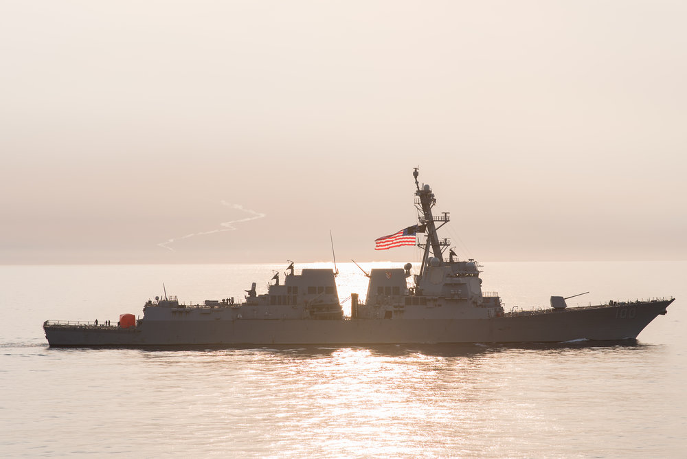destroyer at sunset
