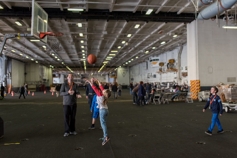 basketball in the hangar